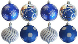 Christmas By Krebs Christmas Ball Ornament 6 Inches Blue and Silver 8 Pack