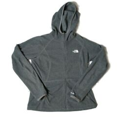 The North Face Womens Long Sleeves Full Zip Fleece Hooded Gray Jacket Size SM $17.99