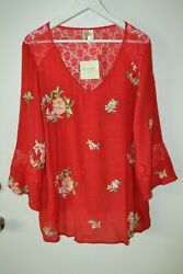 Fig and Flower Boho Peasant  Top Blouse Tunic Like Silk Rayon Blend Plus Size 1X $30.90