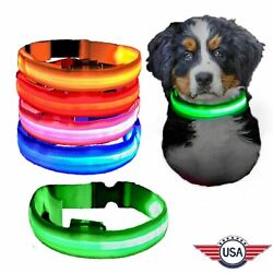 USB Rechargeable LED Dog Light Up Safety Collar Night Glow Adjustable Bright USA $6.64