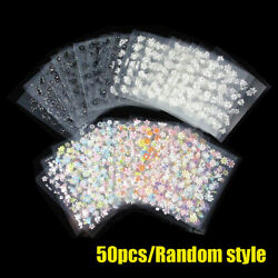 50 3D Sheet Flower Decal Transfer Manicure Nail Art Stickers Tips Decoration DIY $4.62