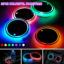 2X LED Cup Pad Car Accessories Light Cover Interior Decoration Lights 7 Colors $10.85