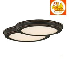Commercial Electric 13quot; Oil Rubbed Bronze LED Ceiling Flush Mount White 2 Pack