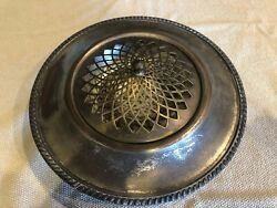 Vintage F.B. Rogers Silver on Copper Footed Centerpiece Bowl w Flower Frog 1940s $25.00