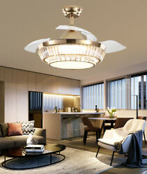 42quot; Remote Crystal Chandelier Lighting Modern Retractable LED Ceiling Fan Light $170.99