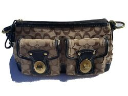 Coach Signature Logo Canvas Brown Small with wide strap. $71.99