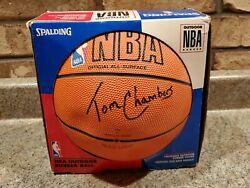 Vintage Tom Chambers autograph Spalding outdoor rubber NBA ball 1990s Z1 F $500.00