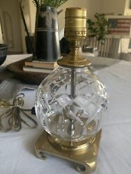 vintage lamp waterford crystal crescent brass mfg farmhouse brocante $95.00