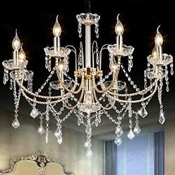 Crystal Chandeliers Lighting Fixture Ceiling with Adjustable Height Dining Room $211.72