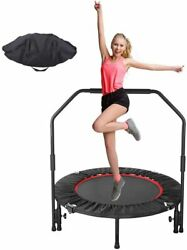 40quot; Mini Foldable Trampoline With Bar Home Gym Urban Rebounder Bouncing Exercise $49.99