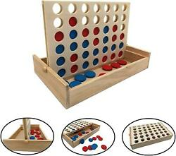 Wooden 4 in a Row Outdoor Games Yard Game For Kids amp; Adults Small Line up Travel $11.99