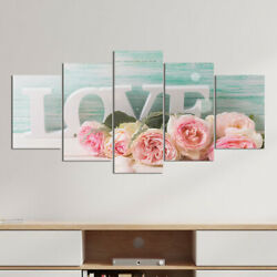 5pcs set Wall Art Hanging Picture Romantic LOVE Rose Canvas Painting Room Decor $12.99