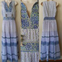 Alicia Bell Collection Emily Blue Green Sleeveless Floral Boho Maxi Dress Size S $150.00