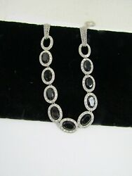 Monet Black and Clear Rhinestone Silver Tone Costume Toggle Necklace $18.95