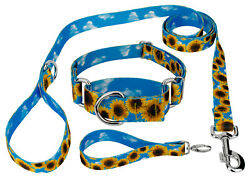 Country Brook Petz® Sunflowers Recycled Martingale Dog Collar amp; Leash Large $19.95