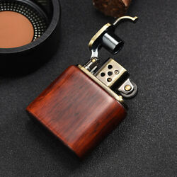 Rosewood Wooden Case Antique Style Lift Arm Oil Petrol Lighter $12.99