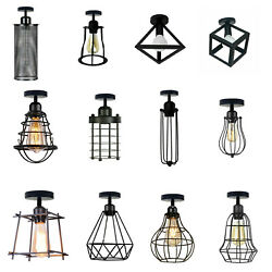 Vintage industrial Ceiling Light Shade Modern Metal Cage Pendant Lamp Shade lamp $37.86