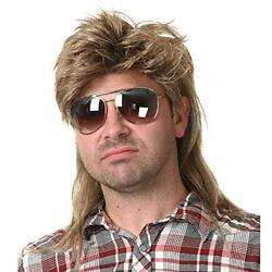 Mullet Wigs for Men 80s Costumes Fancy Party Accessory Cosplay Wig Light Brown $23.54