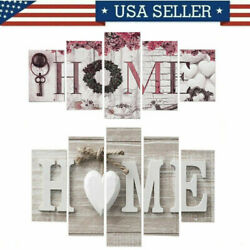 5Pcs Concise Fashion Wall Paintings Home Letter Printed Photos Art Wedding Decor $13.69