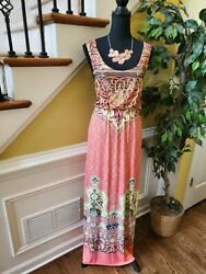 One World Live And Let Live Long Sleeveless Dress Size XL Embellished $30.00