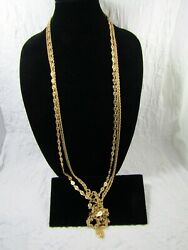 MONET Oval Open Metal Gold Tone Chain Triple Strand Long Costume Necklace $22.95