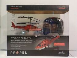 Propel Coast Guard Micro Wireless Indoor Helicopter Drone RC Remote Control Red $9.99