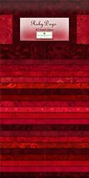 Jelly Roll Ruby Days Red Shades Cotton Fabric Wilmington Gems 40 Strips 2.5quot; $38.00
