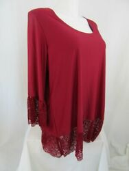 Slinky Brand Size 2X Maroon Scoop Neck Top with Lace on Bottom Hem $15.99