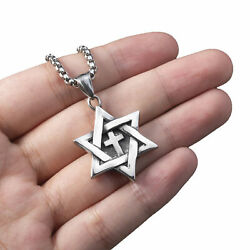 Star of David Messianic cross Men#x27;s Solid Stainless Steel Pendant Necklace Chain $10.76