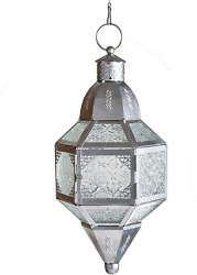 Moroccan Hanging Candle Lantern For Home Decoration Garden Metal Glass Silver L $39.99