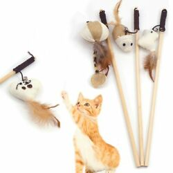 Pet Cats Teaser Toys Feather Wand Cats Catcher Teaser Stick High Quality Toy 1Pc $3.10