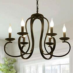 6 Lights Chandeliers Vintage Metal Candle Style Pendant Light with Black Finish $144.36