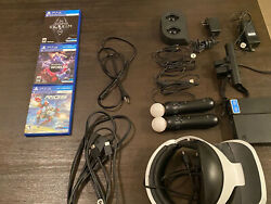PS4 VR Headset Camera 3 Games Motion Controllers Charging Stand and Cables. $280.00