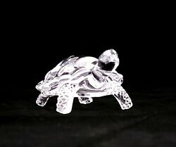 Vintage Crystal Clear Glass Turtle Figurine Fetish Paper Weight 4.5quot; FREE SHIP $12.99
