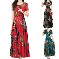 Womens Casual Short Sleeve Long Dress Crew Neck Printed Summer Dresses Plus Size $18.52