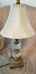 Vintage Lamp With 2 Glass Cluster Balls In Middle Of Lamp 25 Inch Tall $28.00