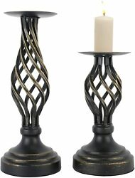 2 Pack Retro Candle Holder Vintage Twist Style Candle Holder Pillar Candle Stand $23.19