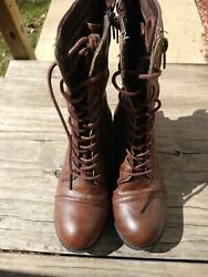 Ball Band Womens Combat Brown Boots Lace Ups Size 7 Zipper Mid Calf $29.99