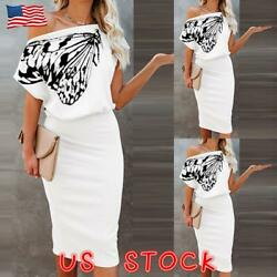 Women Butterfly Print Off Shoulder Party Evening Cocktail Bodycon Midi Dress US $16.62