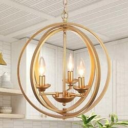 Gold Orb Chandelier for Dining Room Kitchen Bedroom Bathroom and Entryway $185.30