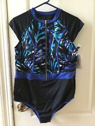 Swimsuits For All Flattering One Piece Blue Black Swimsuit Size 22 $30.00