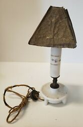 ANTIQUE LAMP WITH PREFERRED METAL SHADE $20.00