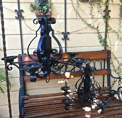 Vtg Lot of 2 Spanish Gothic Style WROUGHT IRON CHANDELIERS Hanging Light Set $199.99