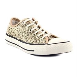 Converse Chuck Taylor All Star Womens Sneakers Gold White Glitter Size 7 New $41.99