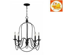 Home Decorator Rivy West 5 Light Oil Rubbed Bronze Chandelier Silver Highlights $84.99