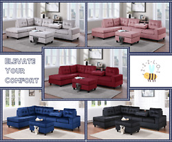 NEW Modern Reversible Velvet Sectional Contemporary with Storage Ottoman $1099.99
