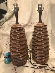 Pair Mid Century Honeycomb Pottery Lamps $300.00