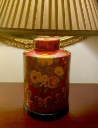Vintage LARGE Frederick Cooper Porcelain Red Gold Floral Lamp Chinoiserie 3 WAY $295.00