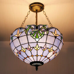 Victorian Pendant Hanging Ceiling Light Fixture Stained Cut Glass 12quot; Inverted $89.99