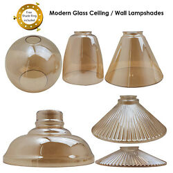 Modern Ceiling Light Shades Amber Glass Lamp Shape Easy Fit Replacement Shades $40.53